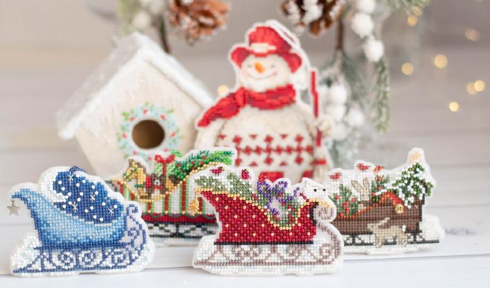 Mill Hill «Toyland Sleigh» «Evergreen Sleigh» «Woodland Sleigh» «Celestial Sleigh» «Nordic Snowman»